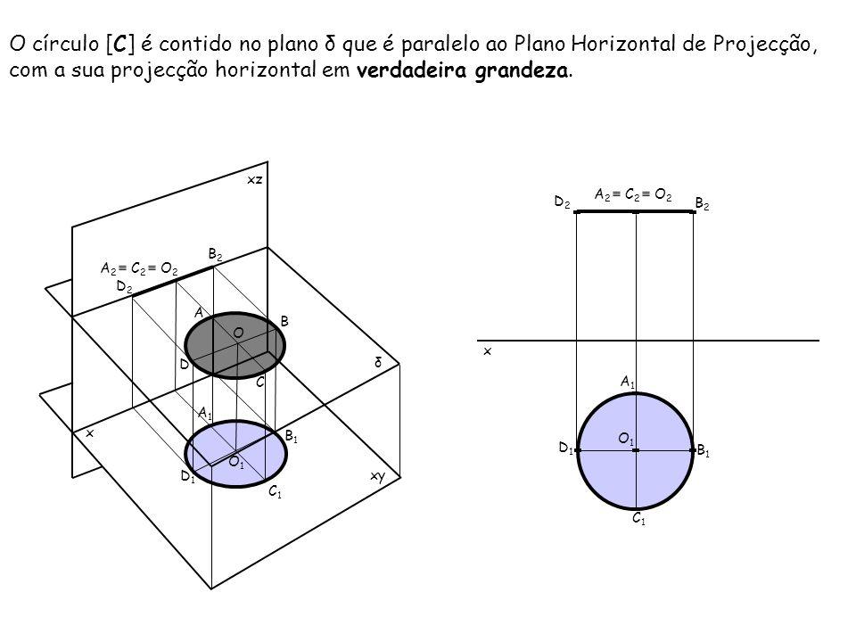 O círculo [C] é contido no plano δ que é paralelo ao Plano Horizontal de Projecção, com a sua projecção horizontal em verdadeira grandeza.